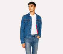 Mid-Wash Pleat-Front Lined Denim Jacket