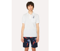 Slim-Fit White Cotton-Piqué Polo Shirt With 'Tuna' Print