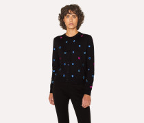 Black Embroidered 'Scribble Spot' Cardigan