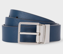 Black And Slate Blue Reversible Leather Cut-To-Fit Belt