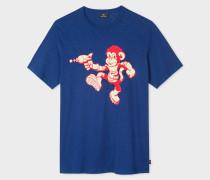 Navy 'Space Monkey' Print Cotton T-Shirt