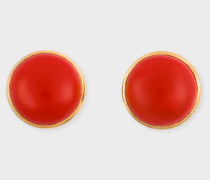 Rachel Entwistle + - Gold Stud Earrings With Red Coral Stone