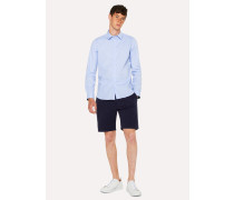 Slim-Fit Sky Blue Stretch-Cotton Shirt With 'Cycle Stripe' Cuff Lining