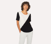 Black And White Silk-Blend Colour Block Top