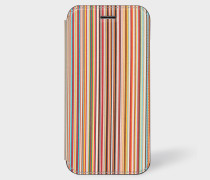 'Signature Stripe' Leather iPhone 6/6S/7/8 Wallet Case