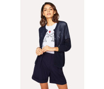 Navy Pointelle Cotton Cardigan With Contrast Trims