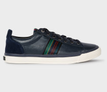 Dark Navy 'Seppo' Leather Trainers With 'Cycle Stripe' Stitching