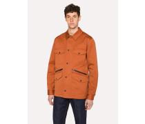 Burnt Orange Stretch-Cotton Field Jacket