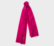 Fuchsia 'Paul's Sketchbook' Small Print Wool Scarf