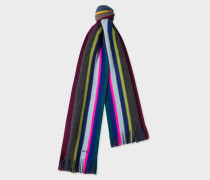 Slate Multi-Coloured Stripe Wool Scarf