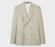 Tailored-Fit Pistachio Wool-Silk Devore Check Double-Breasted Blazer