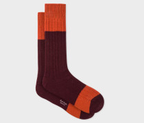Burgundy Colour-Block Cable Knit Wool-Blend Socks