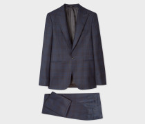 The Soho - Tailored-Fit Navy And Burgundy Check Wool Suit
