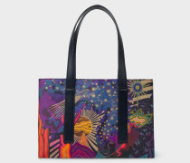 Concertina 'Dreamer' Print Small Leather Tote Bag