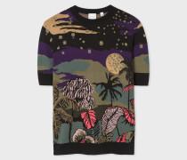 'Midnight' Jacquard Cotton-Blend Short-Sleeve Sweater