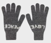 Grey 'Peace & Love' Wool Gloves