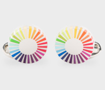Gradient Stripe Edge Circular Cufflinks