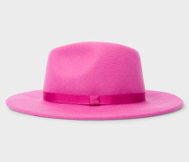 Pink Lined Wool-Blend Fedora Hat