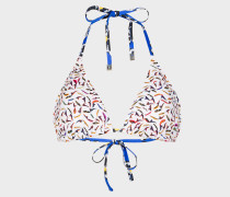 'Koi Carp' And Floral Print Triangle Bikini Top