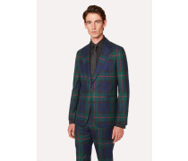 Tailored-Fit Navy, Green And Red Tartan Wool Blazer
