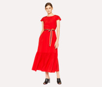 Red Midi Dress With Pleated Hem
