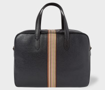 Black Leather Signature Stripe Weekend Bag