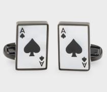'Ace Of Spades Card' Pearlescent Cufflinks