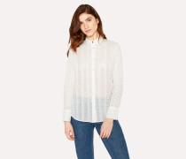 White Openwork Stripe Detail Shirt