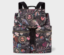 'Psychedelic Sun' Print Flap Canvas Backpack