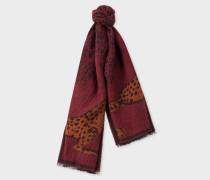 Burgundy 'Lucy Leopard' Jacquard Scarf