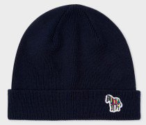 Navy 'Zebra' Logo Ribbed Lambswool Beanie Hat
