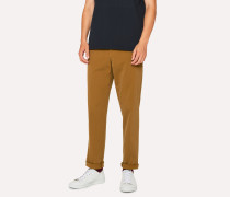 Tapered-Fit Tan Stretch-Cotton Chinos