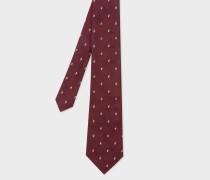 Burgundy Embroidered Rabbit Motif Silk Tie