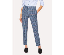 Classic-Fit Dark Navy Check Trousers