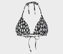 'Dancing Cats' Print Triangle Bikini Top