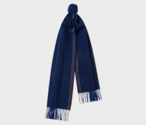 Navy Two-Tone Stripe Lambswool And Cashmere Scarf