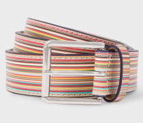 Embossed Signature Stripe Leather Belt