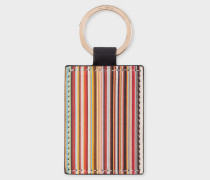 Black Calf Leather Signature Stripe Keyring