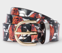 Silver 'Rose' Print Leather Belt