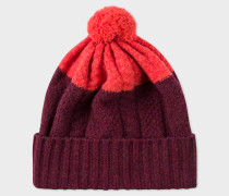 Burgundy Cable-Knit Wool Beanie Hat