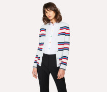 Light Blue Stripe Knitted V-Neck Cardigan