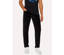 Tapered-Fit Black Corduroy Trousers