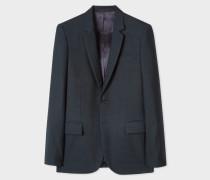 Mid-Fit Dark Navy Small-Check Wool Blazer