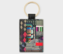 Black Leather 'Geometric Mini' Print Keyring