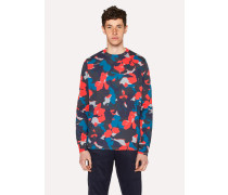 Red Camouflage Print Cotton Long-Sleeve T-Shirt