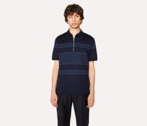 Navy Stripe Cotton Zip Polo Shirt