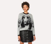 Grey 'Dog' Intarsia Wool Sweater