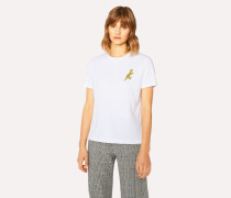 Small Yellow 'Dino' Print Cotton T-Shirt