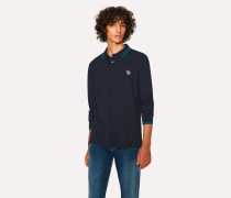 Navy Zebra Long-Sleeve Polo Shirt With Turquoise Tipping