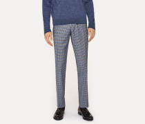 Slim-Fit Two-Tone Navy And Brown Check Wool Trousers